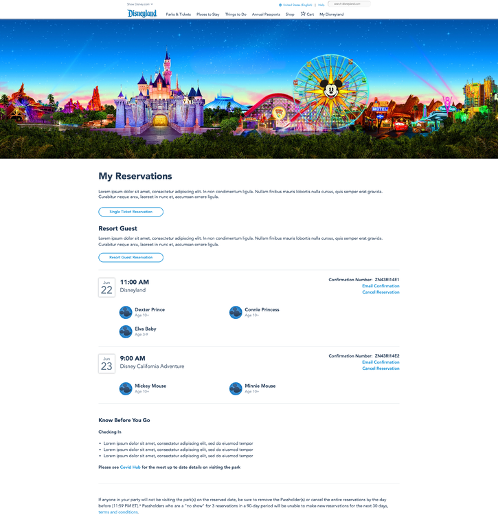 Disneyland Park Reservation System Screenshot