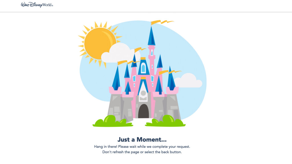 Disney Park Pass Pink Castle Waiting Screen