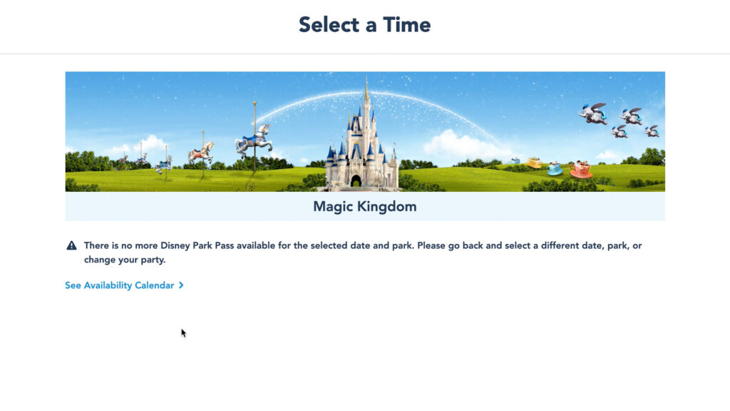 Disney Park Pass Unavailable Error