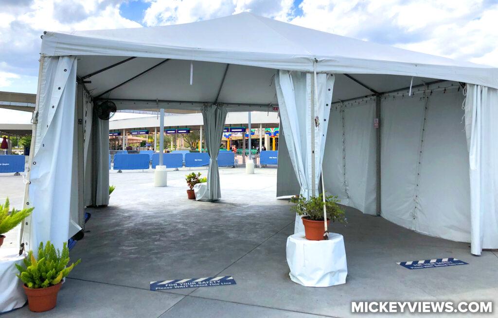 Empty Temperature Check Tent
