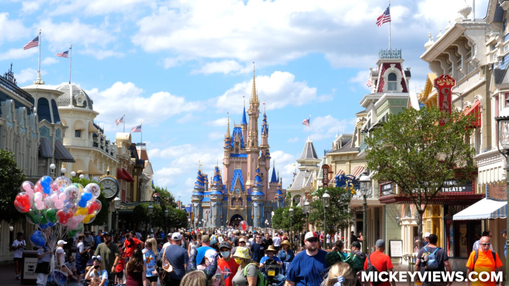 Guests on Main Street USA without Masks