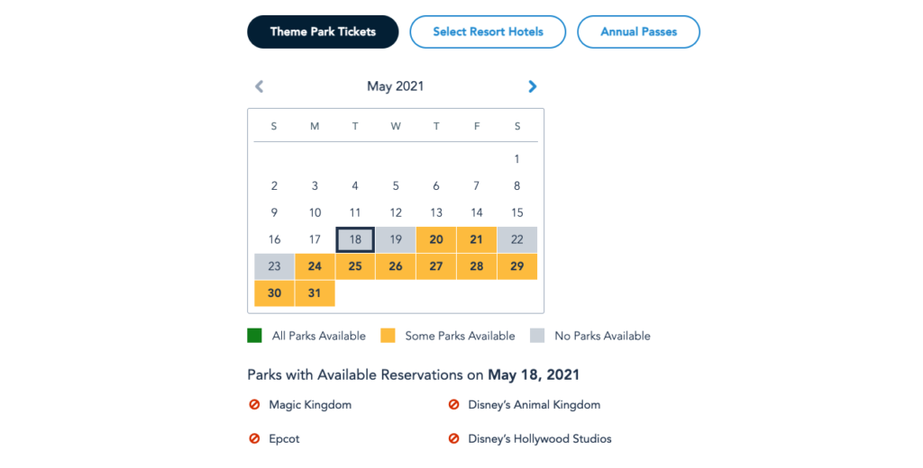 Single Ticket Availability for Park Pass Reservations in May 2021