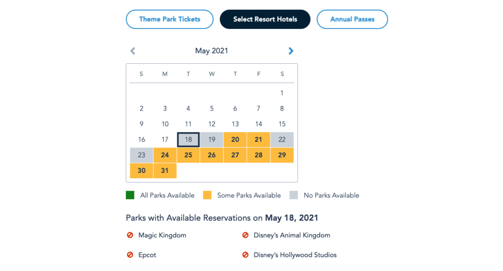 Resort Hotels Availability for Park Pass Reservations in May 2021