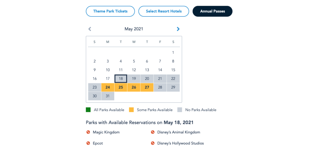 Annual Pass Availability for Park Pass Reservations in May 2021
