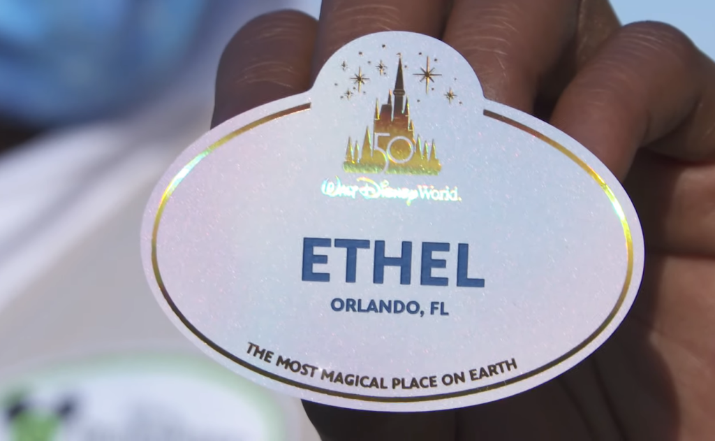 Close up of 50th Anniversary Cast Member Name Tag